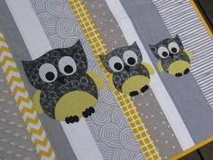 quilt cot crib baby nursery handmade grey yellow by poppinspatch, $135.00