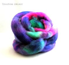"""Hand dyed spinning fibre by Countess Ablaze """"On My Merry Way"""" on massam"""