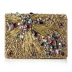 marchesa gold beaded evening bag clutch
