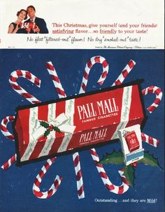 "1958 PALL MALL CIGARETTES vintage magazine advertisement ""This Christmas"" ~ This Christmas, give yourself (and your friends) satisfying flavor ... so friendly to your taste! No flat-""filtered-out"" flavor! No dry ""smoked-out"" taste! ... Outstanding ..."