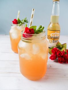 Enjoy the Big Race with this Winner's Circle Cooler! A refreshing beer cocktail made with Corona Light®️️, grapefruit juice, mint simple syrup, and bourbon. Perfect for sipping during The Big Race. #ad #CelebratorySips #CelebrateWithCorona