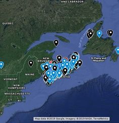 All drops are unique outdoor places that I have been so far; Blue drops are waterfalls with images and/or link to trailpeak.com Red drops are waterfall where I have lost the image for it. Black drops are hikes to other natural features. Nova Scotia, Me On A Map, New Hampshire, Waterfalls, Labrador, Backdrops, Hiking, Lost, Google