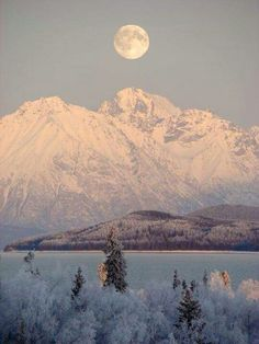 Super Moonset above the Chigmit Mountains ... Lake Clark National Park and Preserve, Alaska. <3
