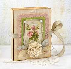 Klaudia/Kszp: Kartka ze wstążką brokatową i pudełko vintage