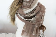 Extra long scarf Striped long scarf Beige lace by Nazcolleccolors