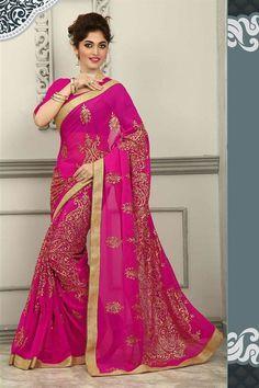 Pink Georgette #PartyWear Designer Saree-13942 - $73