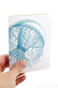 Gorgeous Jellyfish Notebook for the beach lover. It's a softcover handmade journal by @ruthbleakley