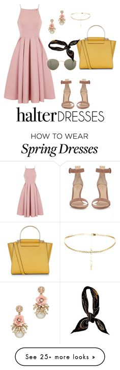 """""""Lady Like!"""" by echiochetti on Polyvore featuring Chi Chi, Gianvito Rossi, New Look, Ray-Ban, Hermès and halterdresses"""