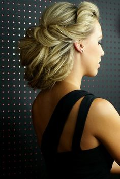 .loose updo with crimped texture for interest