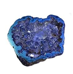 Druzy Agate Tetrahedrite Titanium Mineral Specimen Rainbow Colors Blue Pocket Geode Over 2 uMuseum