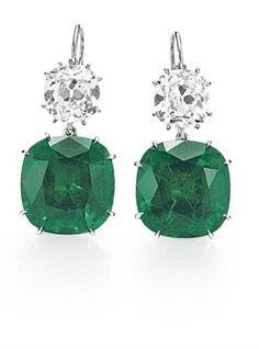 A Pair Of Emerald And Diamond Ear Pendants
