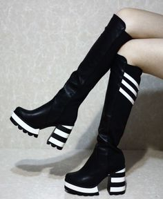 Women's punk goth platform creepers shoes knee high boots high heel party pumps