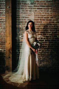 claire pettibone bride 2 Lauren & Greg   A Winter Wedding in Brooklyn   Liberty Warehouse