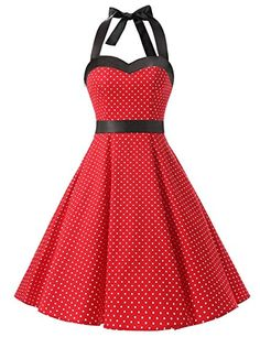 Dresstells Neckholder Rockabilly 50er Vintage Retro Kleid Petticoat Faltenrock: http://amzn.to/2t1zs4q