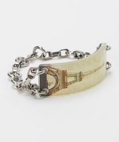 Loving this Cream Stainless Steel Eiffel Tower Fortune Holder Bracelet on #zulily! #zulilyfinds