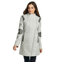 Product: Calvin Klein Asymmetrical Wool Walker with Faux Leather Colorblock