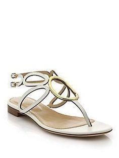 7d772e931 Sergio Rossi - Farrah Leather Flat Sandals  sergiorossiflats
