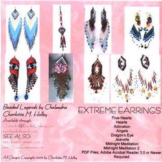 Extreme Beaded Earrings Pattern eBook by Charlotte Holley - Beaded Legends by Chalaedra!