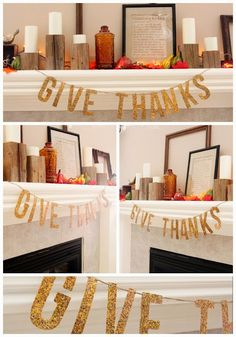 how to easily make your own glitter Give Thanks Banner - - this is so simple but perfect!! - Thanksgiving Craft - Sugar Bee Crafts