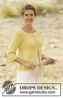 """Golden Blossom - Knitted DROPS jacket with lace edge on yoke and ¾ sleeves in """"Belle"""". Size: S - XXXL. - Free pattern by DROPS Design"""