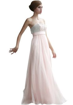Pink Strapless Empire Dress with Embellished Bodice (80592)  £206.50 Feminine empire evening dress in baby pink featuring a dashing front design with pleated detail and embroidery and a very smooth and flawy skirt at the bottom.