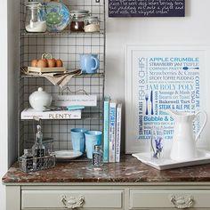 Country kitchen with wire storage unit | Kitchen decorating