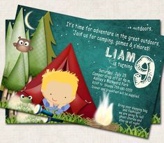 camping birthday party for girls | Camping Birthday Party Invitation, green, smores, outdoors (Digital ...