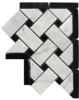 Carrara Venato Polished Basketweave Marble Mosaic Corner available online from The Builder Depot. Honed Marble, Marble Mosaic, Mosaic Tiles, Black And White Tiles, Black Marble, Wall Tiles Price, Marble Tile Bathroom, Shower Tiles, Knitting Room