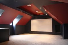 A guy documents the whole process of changing his attic into a home theater! Jus… A guy documents the whole process of changing his attic into a home theater! Just fascinating – and the end results are gorgeous! Home Cinema Room, At Home Movie Theater, Home Theater Rooms, Home Theater Design, Attic Renovation, Attic Remodel, Basement Renovations, Attic Spaces, Attic Rooms