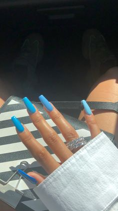 newest acrylic nail designs ideas to try this year 00017 - Beauty Tips - nails Blue Acrylic Nails, Summer Acrylic Nails, Acrylic Nail Designs, Neon Blue Nails, Aycrlic Nails, Hair And Nails, Fire Nails, Dream Nails, Nagel Gel