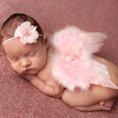 2016 New Baby Kid Feather Alas Del Ángel de la Venda de brillo Flores Al Aire Libre Foto Prop Traje Recién Nacido Banda Para El Cabello Accesorios