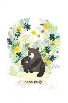 Affiche Papa Poule par Michelle Carlslund - Edition limitée EMOI EMOI - Photo
