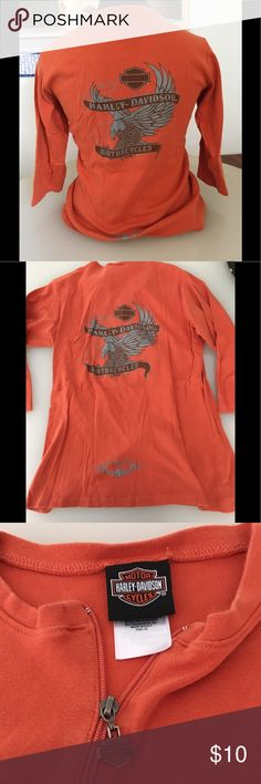 Well loved Santa Maria Ca Harley 3/4 Sleeve Top This orange Harley 3/4 Sleeve Top measuring 14 inches across shoulders and 24 inches long has a zipper down the mid chest. Some wear of threading on back bottom so please see pics for details. Harley-Davidson Tops Tees - Long Sleeve