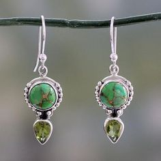 Peridot and Sterling Silver Dangle Earrings from India - Spring Green | NOVICA