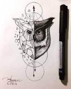 Resultado de imagem para geometric tattoo wolf owl deer