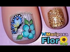 Modelo de uñas para pie/decoración de uñas PIE flor y mariposa/bella decoración de uñas PIE - YouTube Pretty Toe Nails, Pretty Toes, Pedicure Nail Art, Toe Nail Art, Duck Nails, Butterfly Nail Art, Nail Decorations, Nail Art Hacks, Nail Art Designs