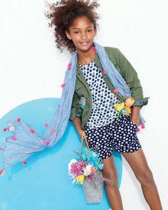Crew lightweight military jacket worn with the blurred floral tee and NellyStella® blue stripe scarf. Tween Girls, Kids Girls, Short Image, Outdoor Girls, Kid Poses, Stylish Kids, Kid Styles, Teen Fashion, Fashion Children