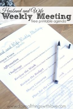A weekly meeting with your spouse could strengthen your marriage, your family and your entire life.  Really.  Use this free printable agenda to reconnect with your spouse on the basic and emotional parts of your life together.