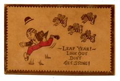 Man Runs from Girl Bees-Don't Get Stung Leap Year-Vintage Greeting Leather Postcard c. 1907-1915