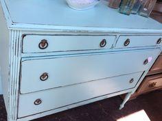 Aqua + antique furniture = perfection