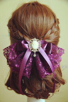 Brocade Purple Barrette, Lace Bow Gothic Barrette, Purple Lace Hair Clip, Lolita French Barrette, Violet Lace and Ribbon Barrette    ♥Description♥