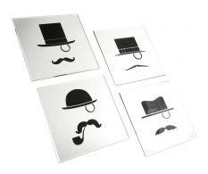 Gentlemen 4 darab Dekoráció tükörrel Snoopy, Room Decor, Cards, Diy, Character, Moustache, Black N White, Black Glass, Accessories