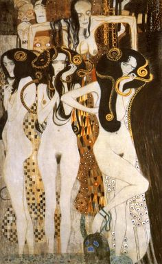 Three Gorgons and Sickness, Madness, and Death from the Beethoven Frieze - Gustav Klimt, 1902. Painted for the 14th Vienna Secessionist Exhibition, and now permanently located in the Vienna Secession...