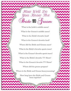 Bridal Shower or Couples Shower Game