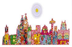 Shop - Walker Art Gallery - Patchwork sunny Liverpool skyline greeting card, Liverpool museums