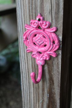 Wall Hook /Bright Pink / Shabby Chic Decor by AquaXpressions, this would look so cute in Kenzie's room!! :)