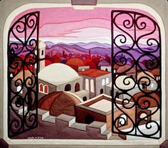 Window to Jerusalem - Felt Tapestry by Bracha Lavee