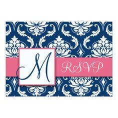 Damask RSVP Wedding Invitations Navy Blue Damask Monogram Wedding RSVP Pink Card