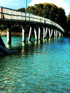 Raglan - the old bridge. Great spot to watch the kids jump into the harbour. North Island New Zealand, South Island, New Zealand Adventure, Surfing Photos, Kiwiana, Black Sand, Website Ideas, A Whole New World, Adventure Is Out There