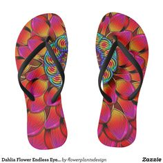 Dahlia Flower Endless Eye Abstract Flip Flops - Durable Thong Style Hawaiian Beach Sandals By Talented Fashion & Graphic Designers - #sandals #flipflops #hawaii #beach #hawaiian #footwear #mensfashion #apparel #shopping #bargain #sale #outfit #stylish #cool #graphicdesign #trendy #fashion #design #fashiondesign #designer #fashiondesigner #style